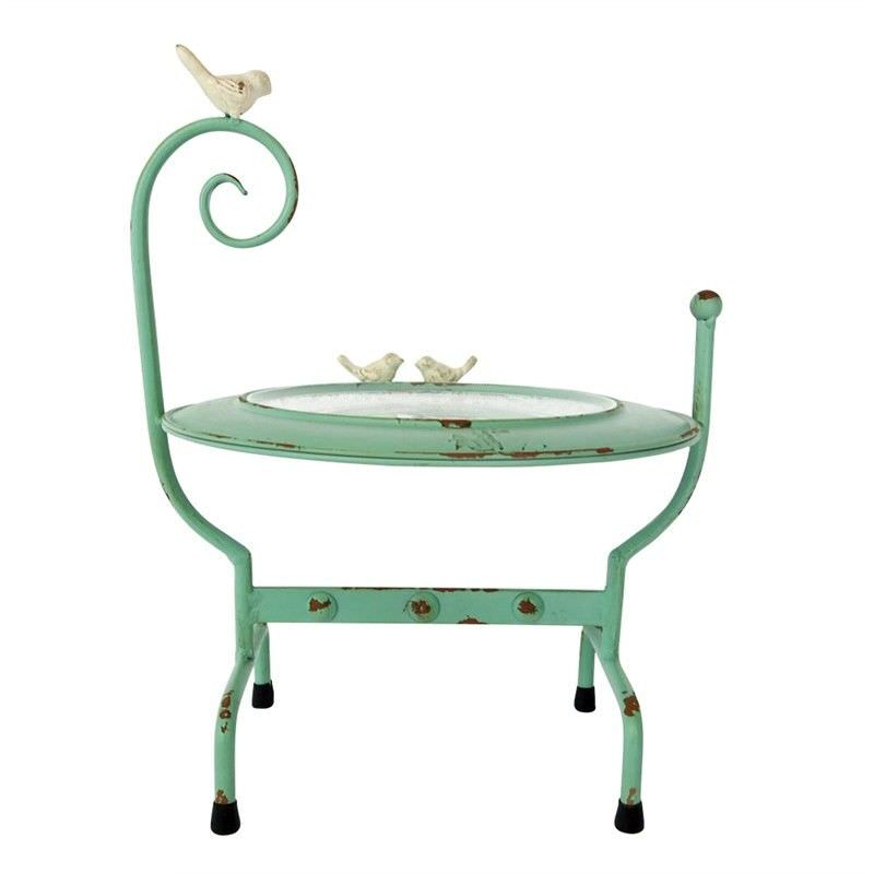 Distressed Metal and Glass Display Stand with Birds