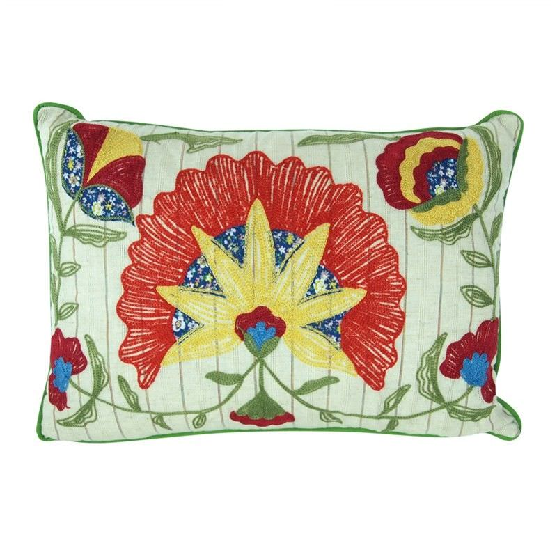 Embroidered Flowers Cotton Cushion - Style A
