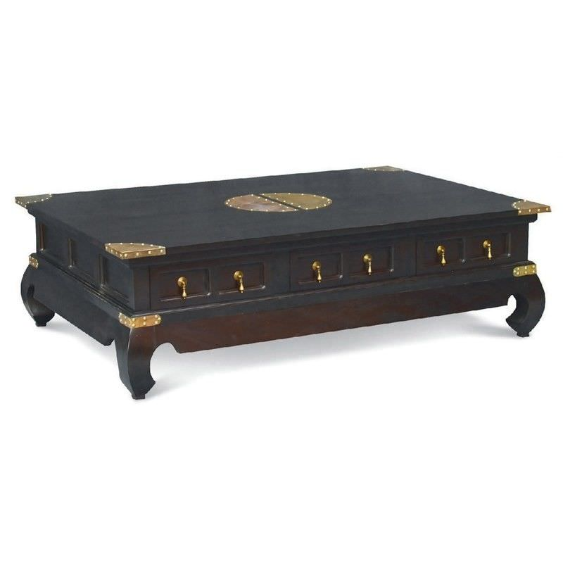 Ming Solid Mahogany Timber 6 Drawer 150cm Coffee Table - Chocolate