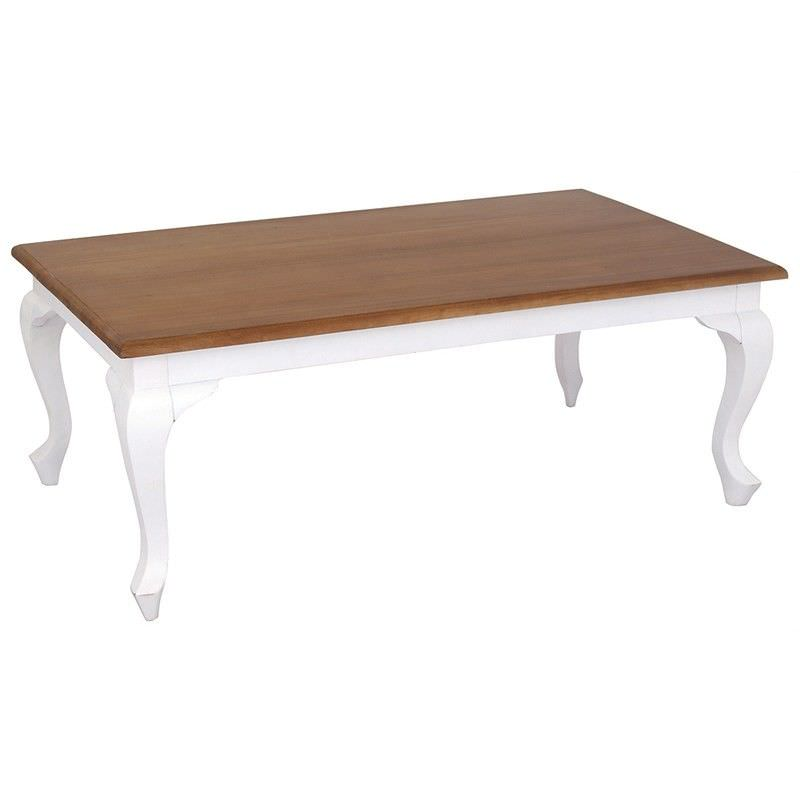 Queen Ann Mahogany Timber Coffee Table, 120cm, Caramel / White
