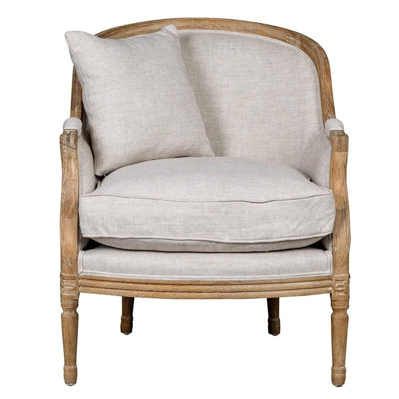 Louis XV Bergere Plain Linen Upholstered American Oak Timber Armchair with Cushion