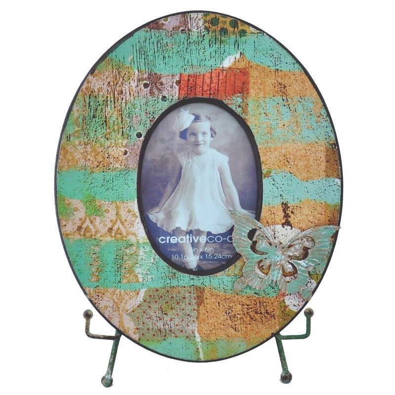 Tisserand Wooden Oval Photo Frame with Easel