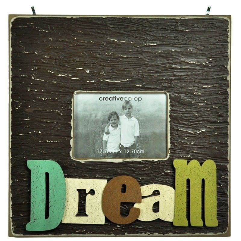 Large Square Wooden Photo Frame with 3D Raised Letters - Dream
