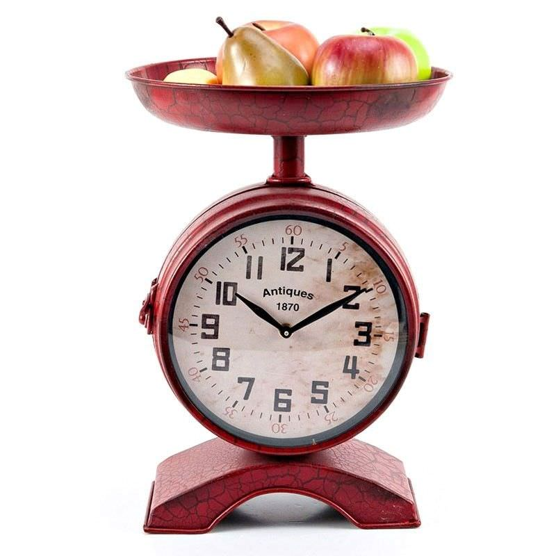 Danvers Red Scale Shaped 2 Sided Metal Clock - 37cm