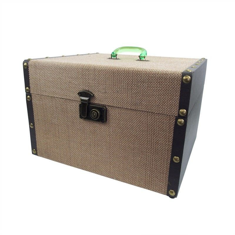 Canvas Fabric Upholsterd Wooden Storage Box with Acrylic Handle