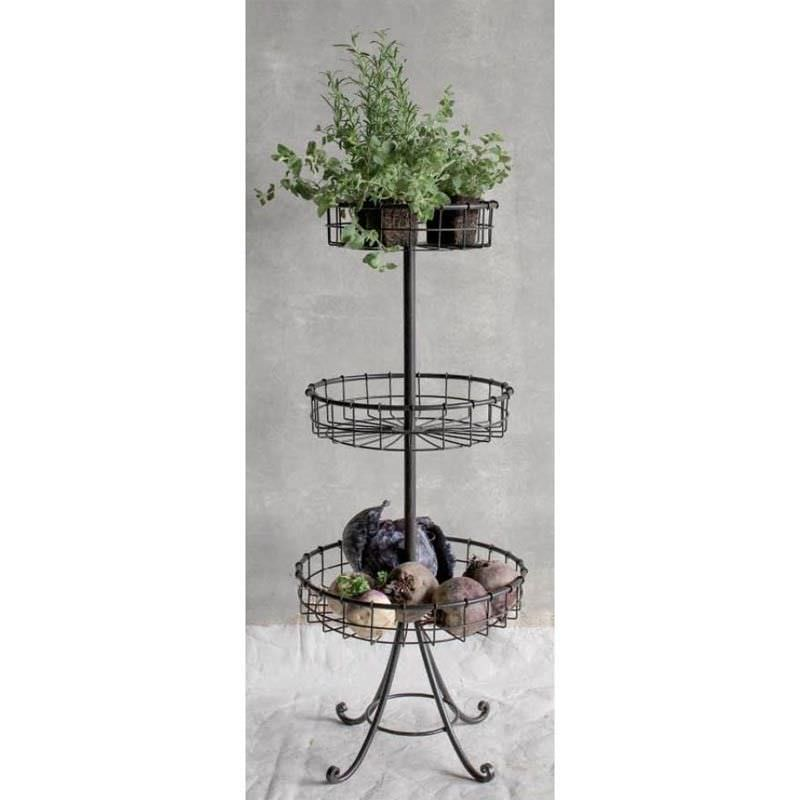 Metal Wired 3 Tier Basket Stand with Curved Legs