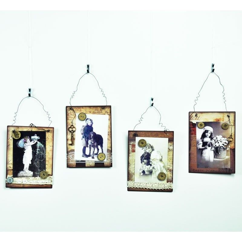 Set of 4 Metal Wall Plaque with Pictures
