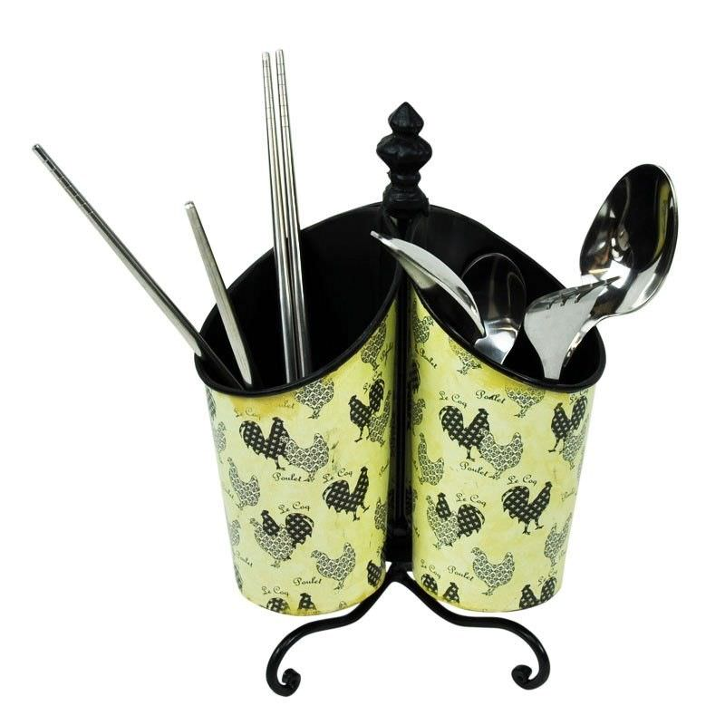 Roosters Tin Cutlery Utensils Holder