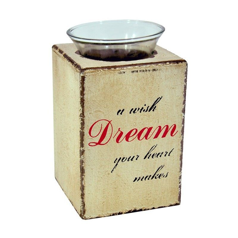 Cream Distressed Plywood Tealight Holder with Glass Cup - 16cm