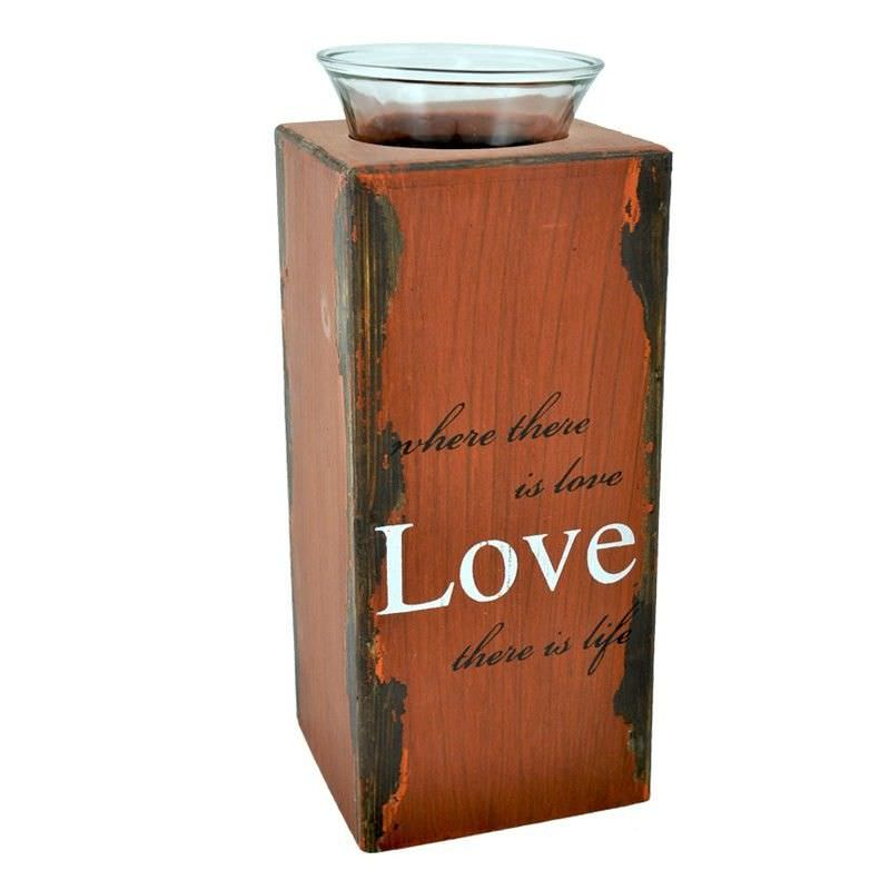 Red Distressed Plywood Tealight Holder with Glass Cup - 24.5cm