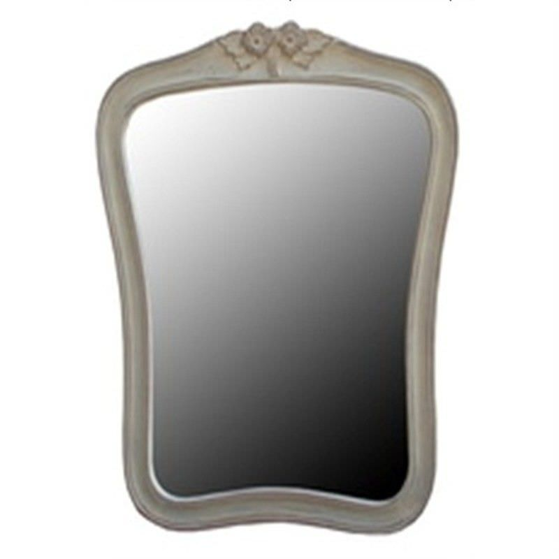 Mirror with Carving, White Wash