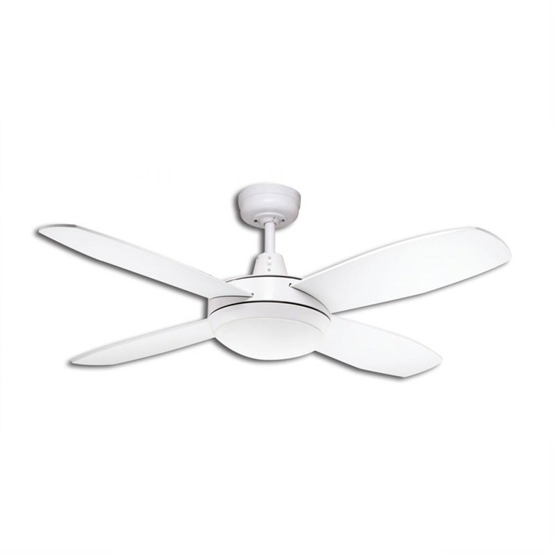Martec Lifestyle Mini 4 Plywood Blade Fan (DLS1043W) with Dimmable 3000K LED Light in White - 107cm