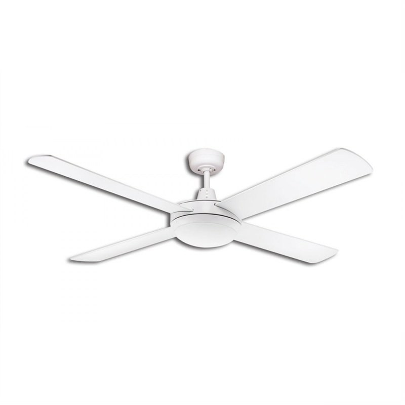 Martec Lifestyle 4 Plywood Blade Fan (DLS1343W) with Dimmable 3000K 24W LED Light in White - 130cm