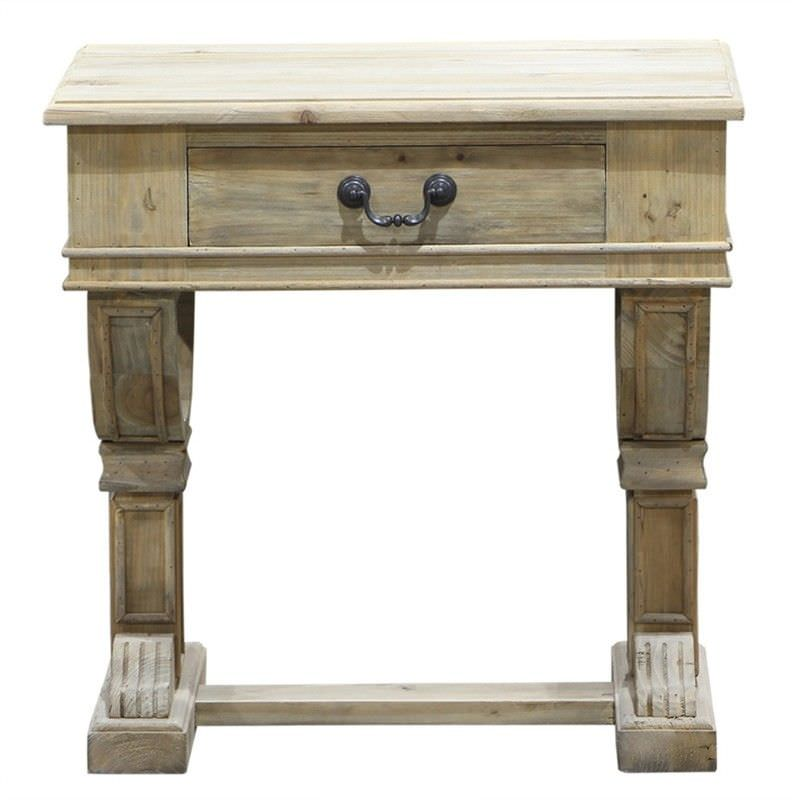 Curtis Reclaimed Pine Timber Side Table - Weathered Natural