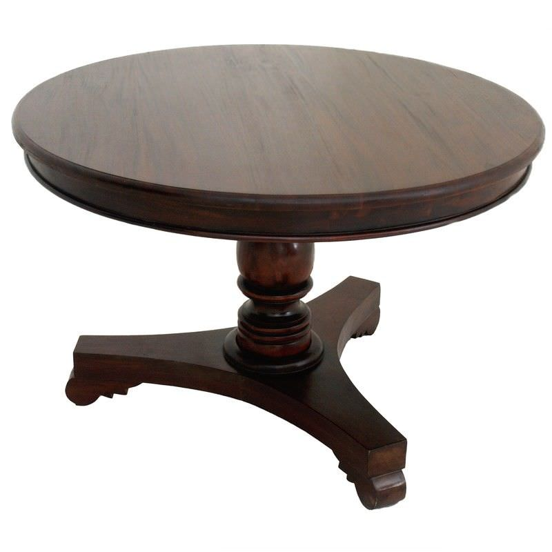 Queen Ann Mahogany Timber Round Dining Table, 120cm, Mahogany