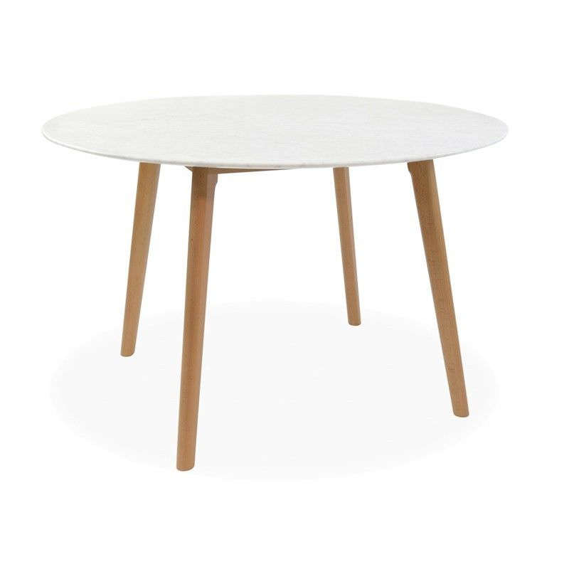 Abir Marble Top Timber Round Dining Table, 120cm