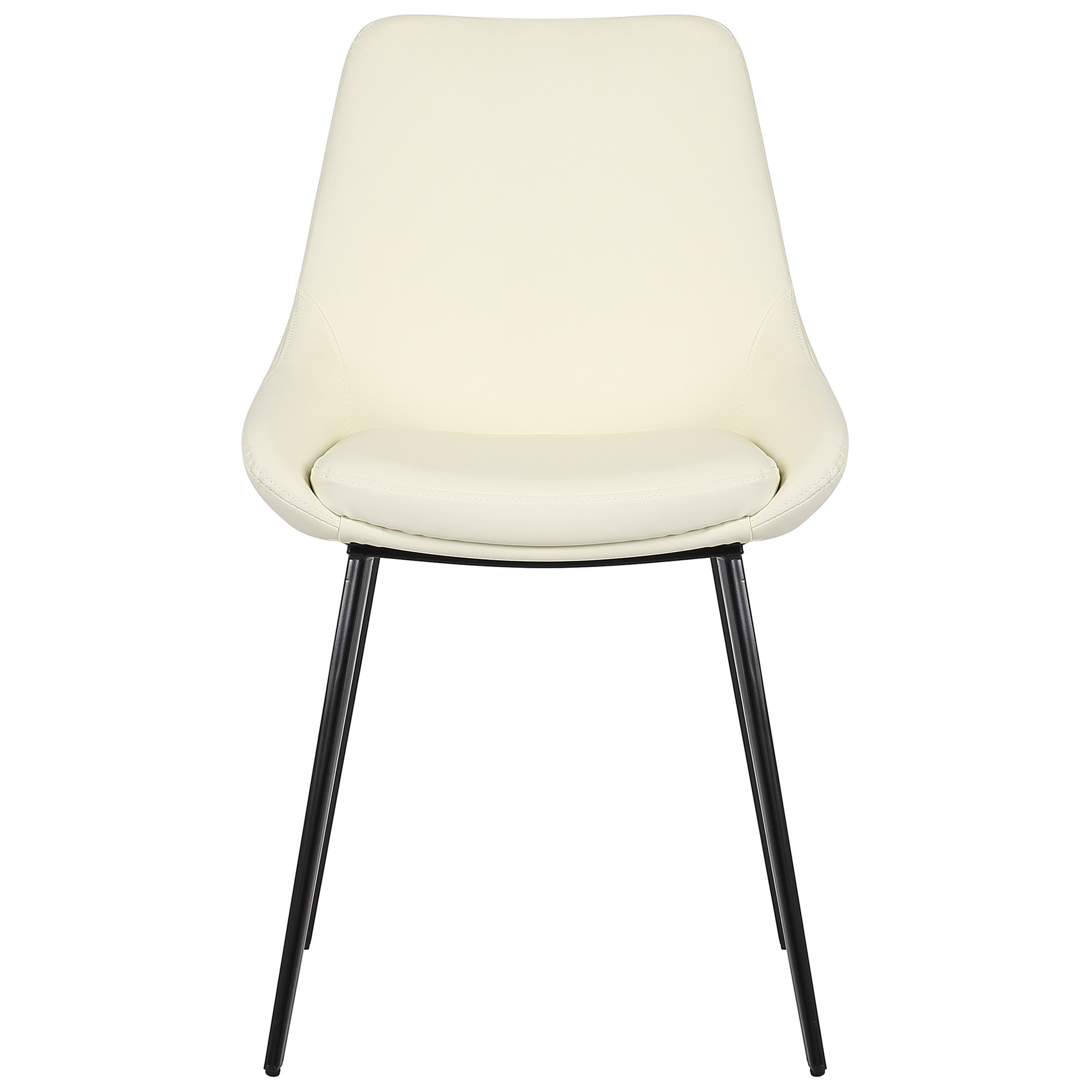 Daimyo Commercial Grade Faux Leather Dining Chair, Cream