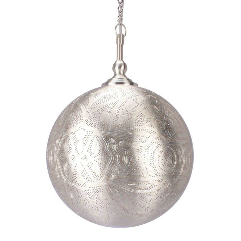 Moroccan Perforated Metal Ball Pendant Light - Small
