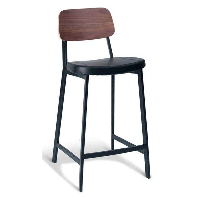 Enfys Commercial Grade Black Metal Frame Counter Stool with Black PU Seat and Walnut Veneer Back