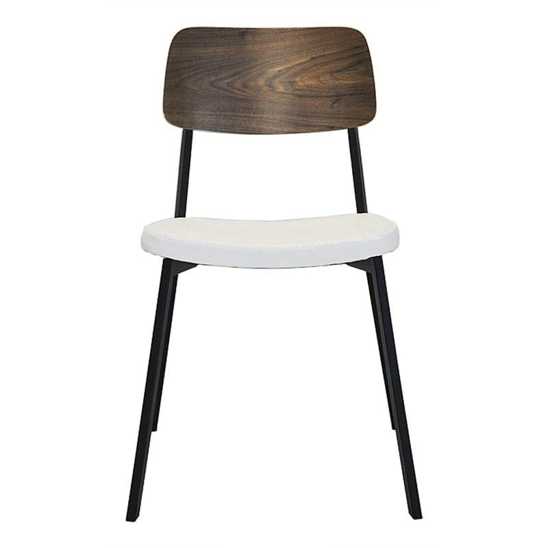 Enfys Commercial Grade Black Metal Frame Chair with White PU Seat & Walnut Veneer Back
