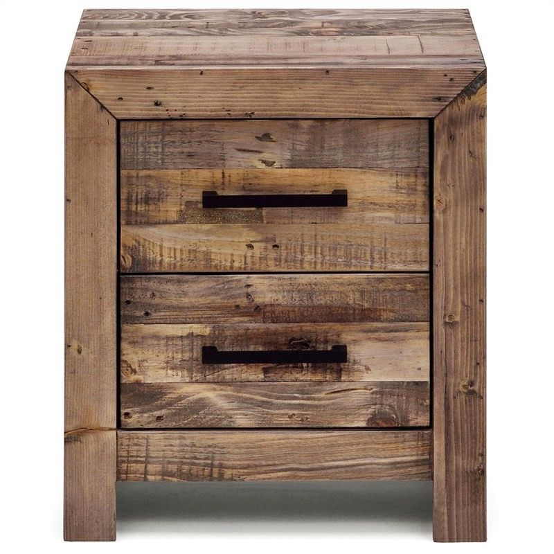 Boston Recycled Pine Timber 2 Drawer Bedside Table