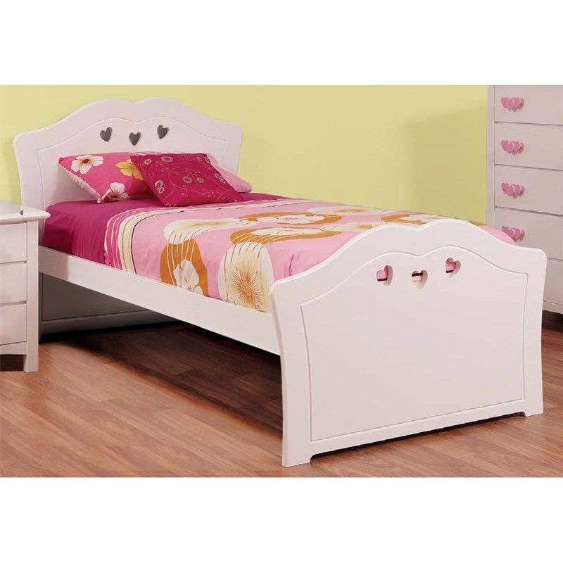 Hearts Wooden Bed, King Single