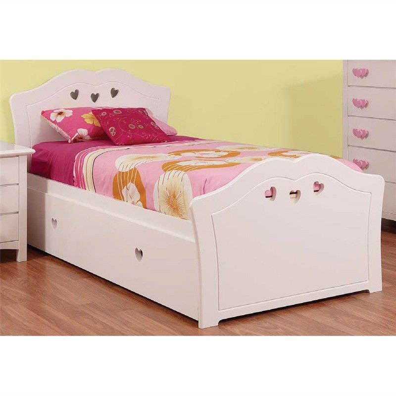 Hearts Wooden Bed with Trundle, King Single