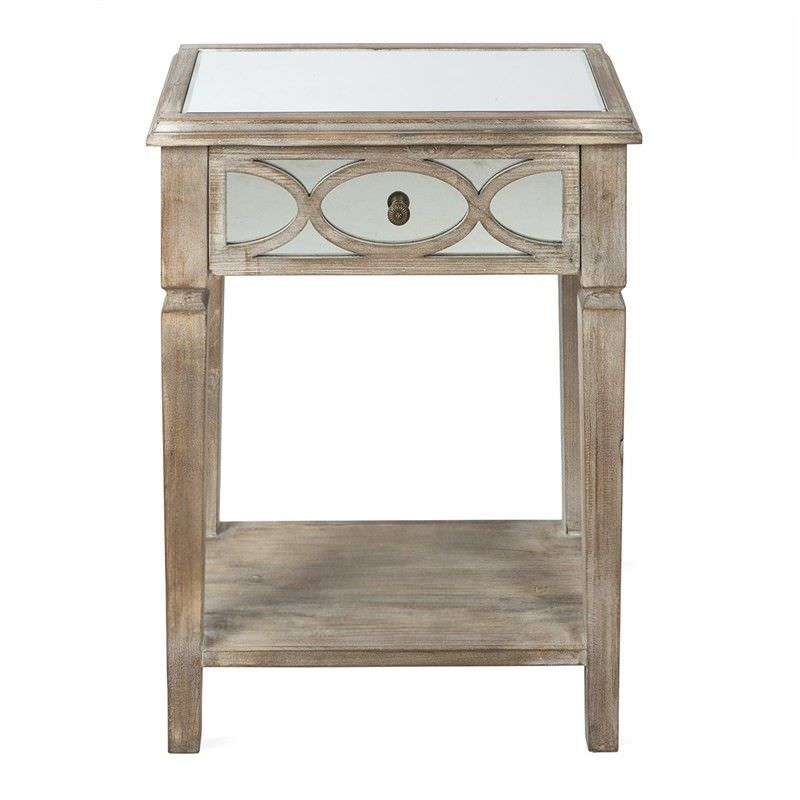 Rosehill Wooden Lattice Mirrored Single Drawer Side Table, Natural