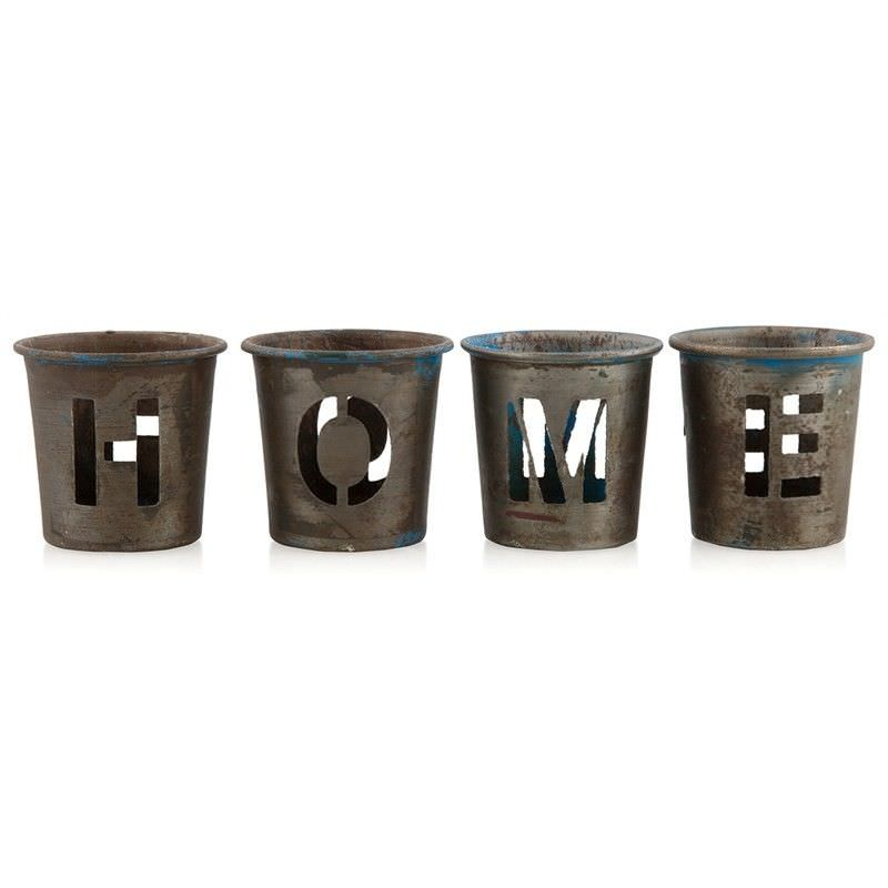 Delany Home Rustic Iron 4 Piece Tealight Holder Set