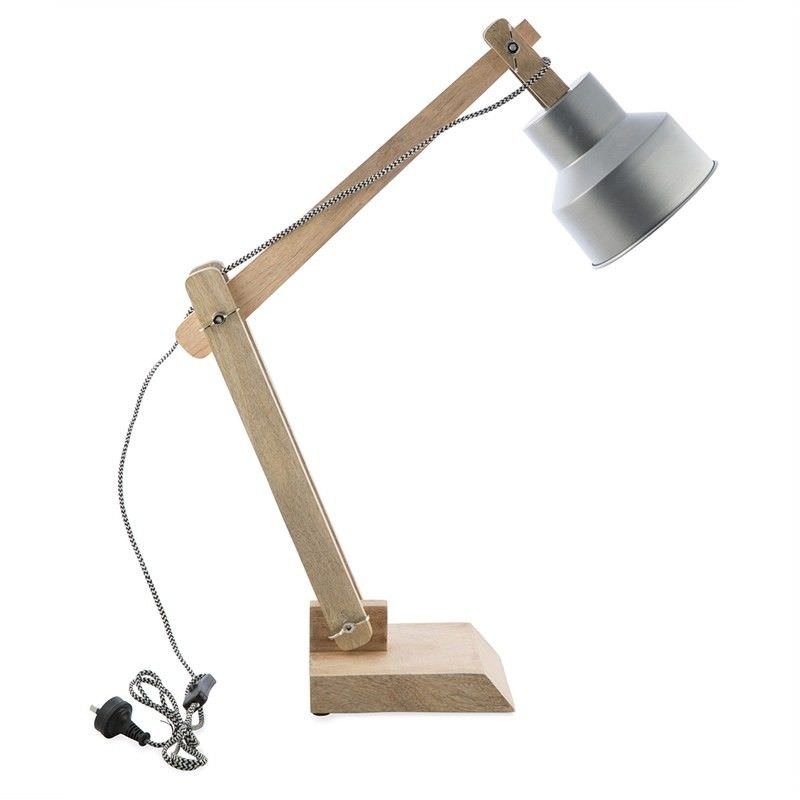 Chelsea Iron Shade Solid Timber Adjustable Desk Lamp - Silver/Natural
