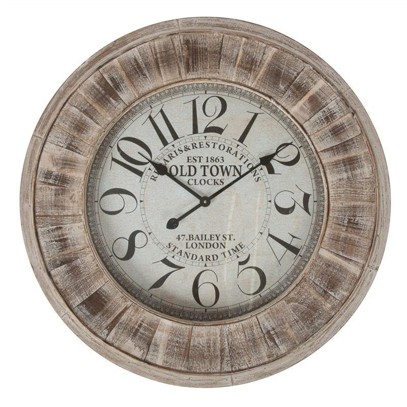 Old Town Wooden Round Wall Clock