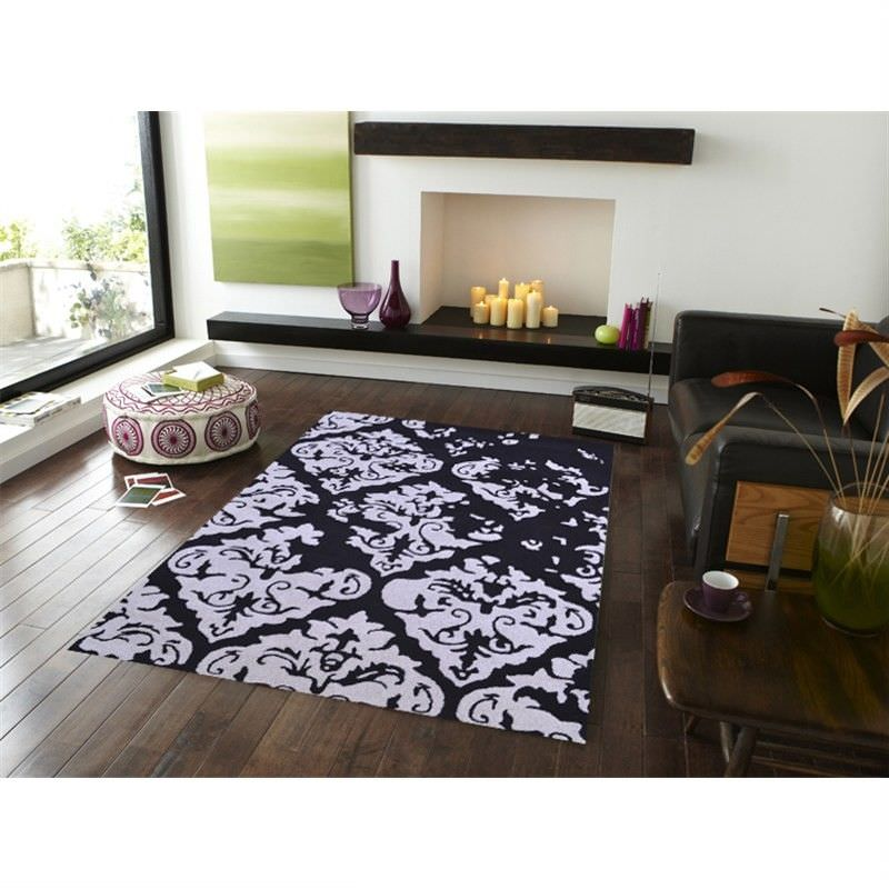Botanical Modern Style No.1068 Hand Tufted Wool Rug in Black/Silver - 160x230cm