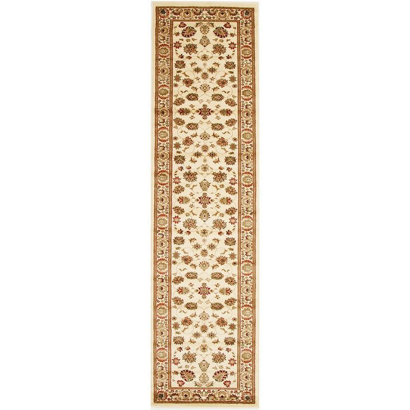Istanbul Floral Turkish Made Oriental Runner Rug, 400x80cm, Ivory