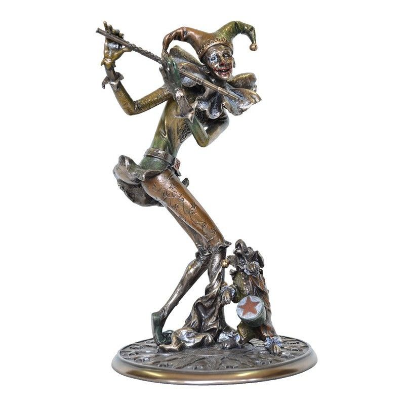 Veronese Cold Cast Bronze Coated Jester Figurine, Playing Flute