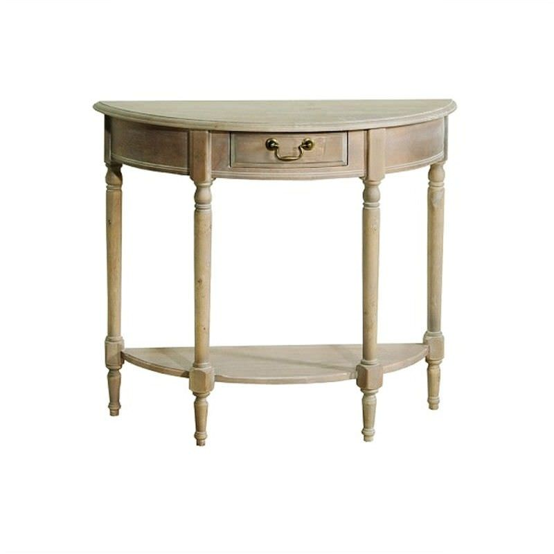 Louis XVI Solid Beech Timber Half Round Console Table