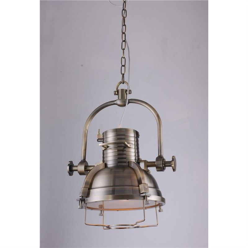 Large Vintage Stainless Steel European Pendant Light in Anqitue Brass