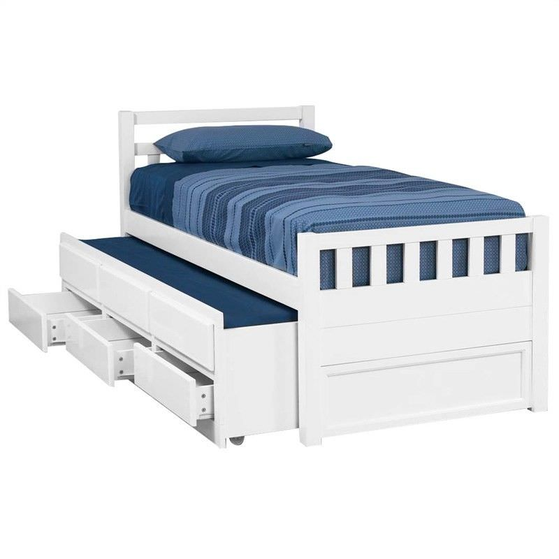Kruz Wooden Captain Bed With Trundle, Full Size Bed With Trundle And Storage Drawers
