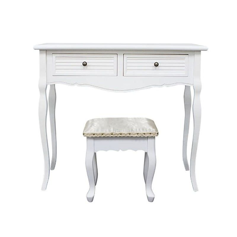 Vaujours 2 Drawers Dressing Table with Ecoles Dressing Stool