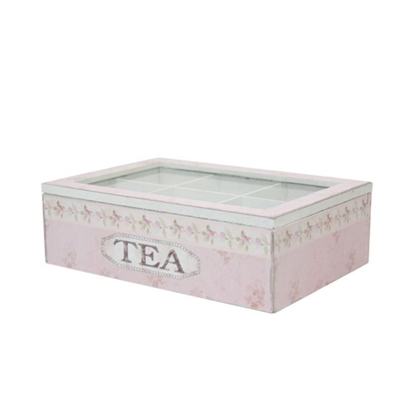 Wooden Tea Box in Pink - Large