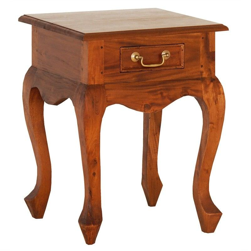 Queen Ann Solid Mahogany Timber Single Drawer Lamp Table, Light Pecan