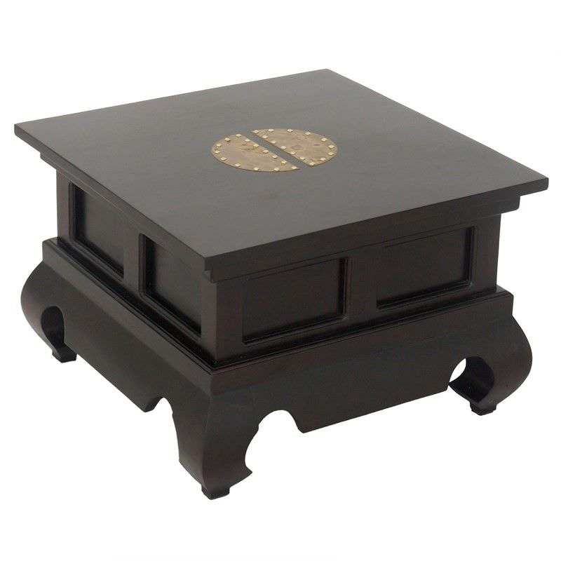 Ming  Solid Mahogany Timber Opium Side Table, Chocolate