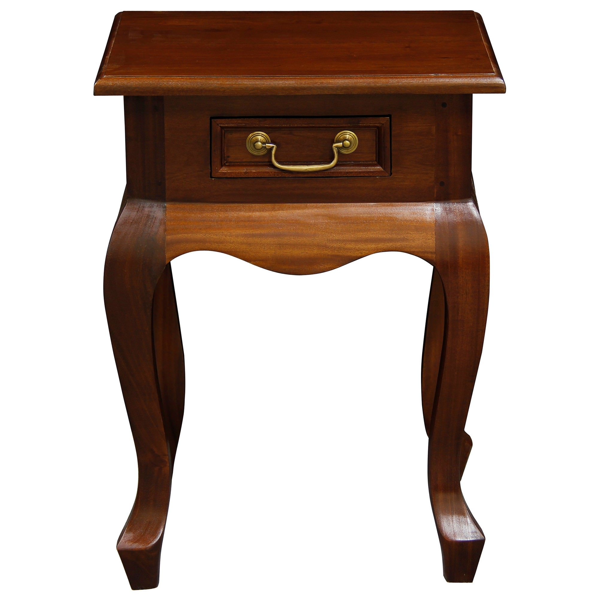 Queen Ann Solid Mahogany Timber Single Drawer Lamp Table,  Mahogany