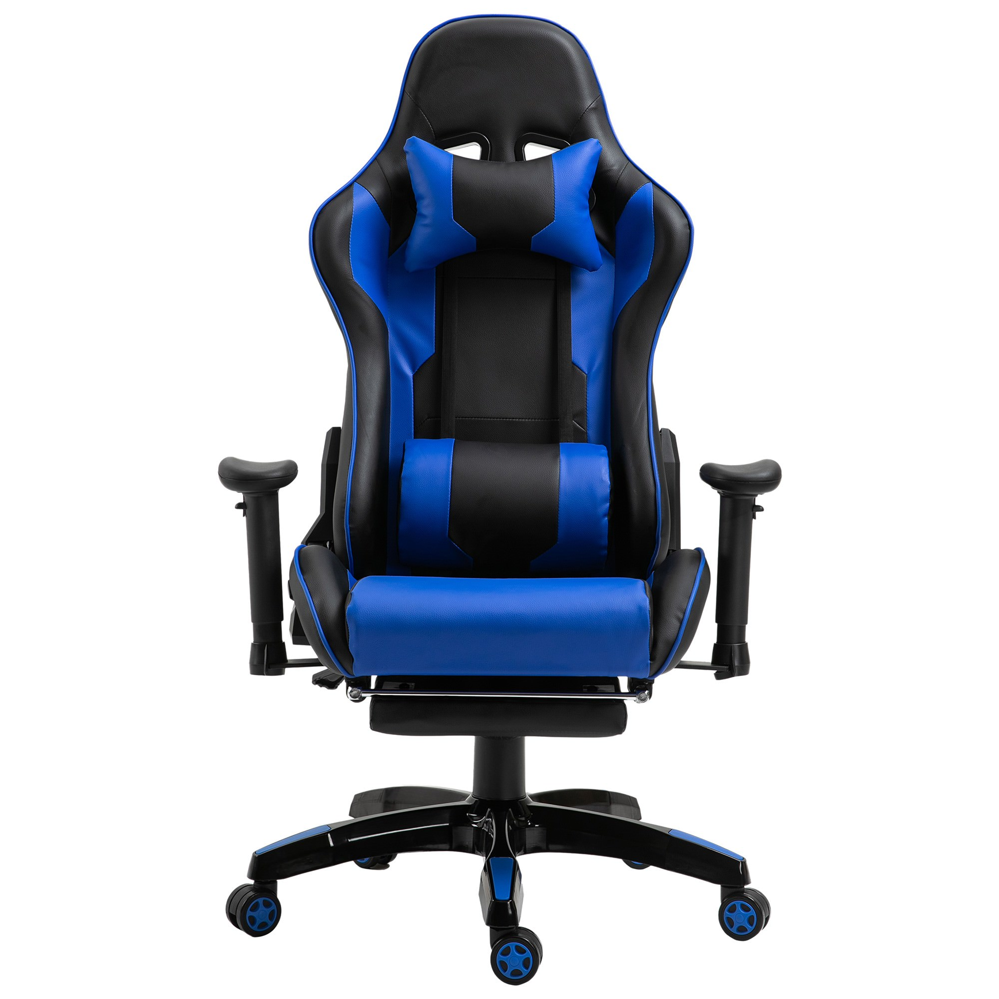 Cybertan PU Leather Gaming Chair with Telescopic Footrest, Black / Blue
