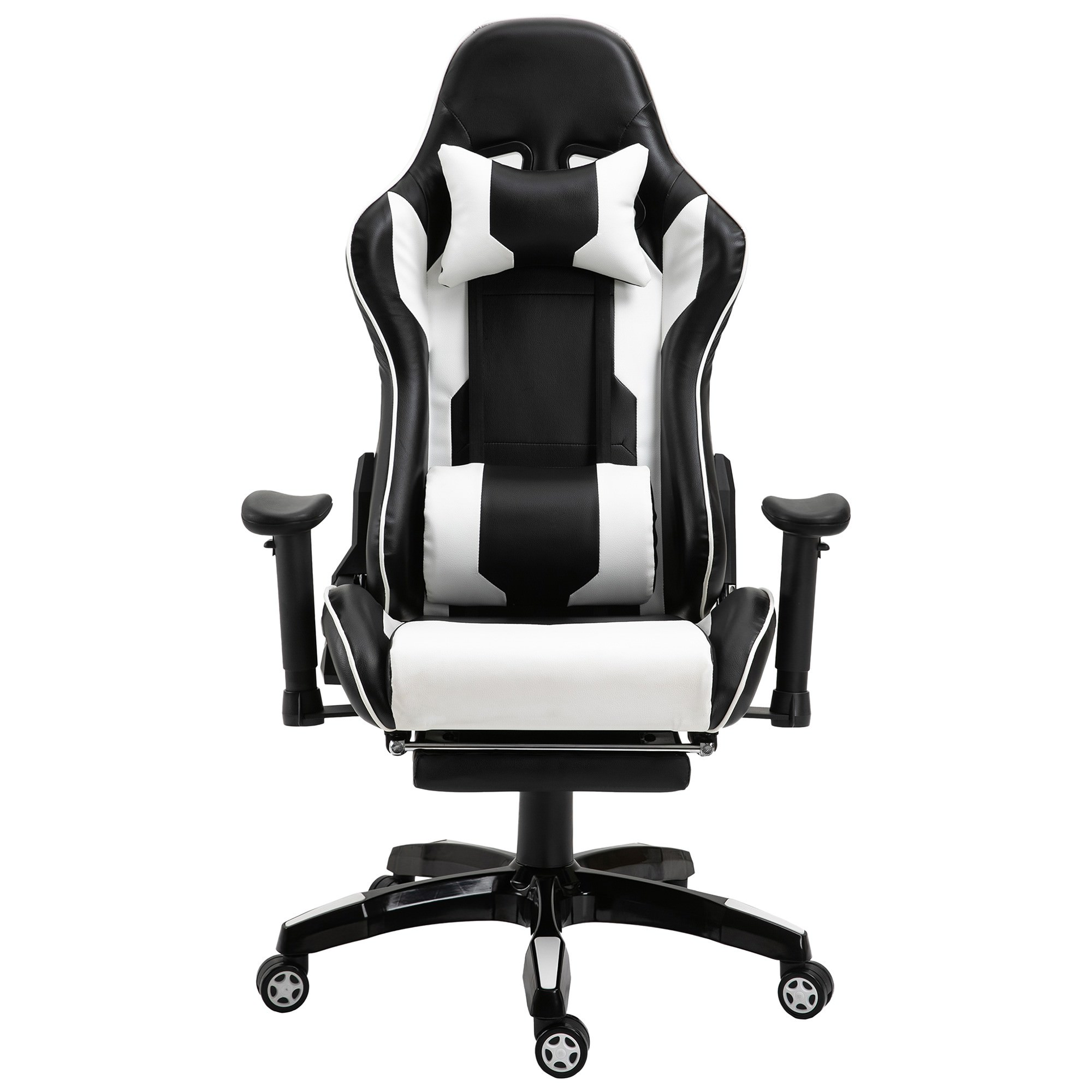 Cybertan PU Leather Gaming Chair with Telescopic Footrest, Black / White