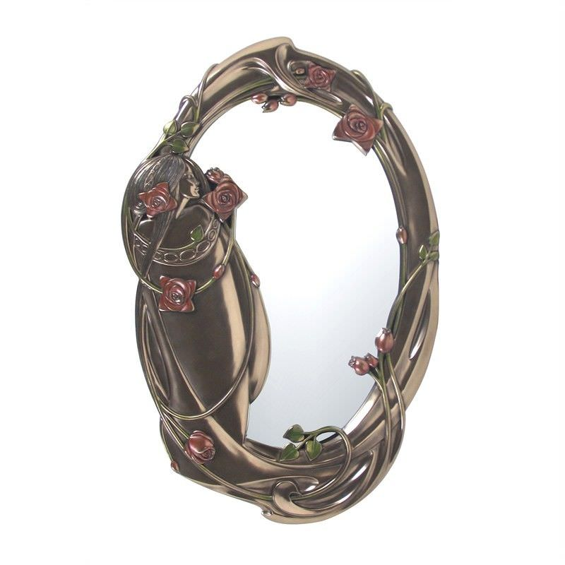 Veronese Cold Cast Bronze Coated Mackintosh Oval Wall Mirror, 43cm