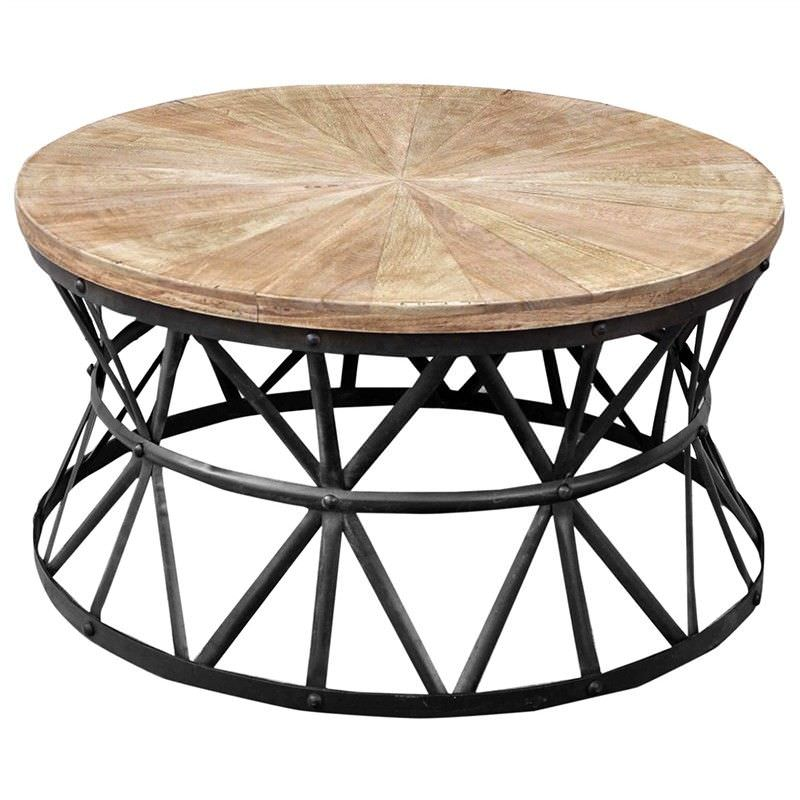 Sandgate Hand Crafted 90cm Iron Round Coffee Table with Timber Top