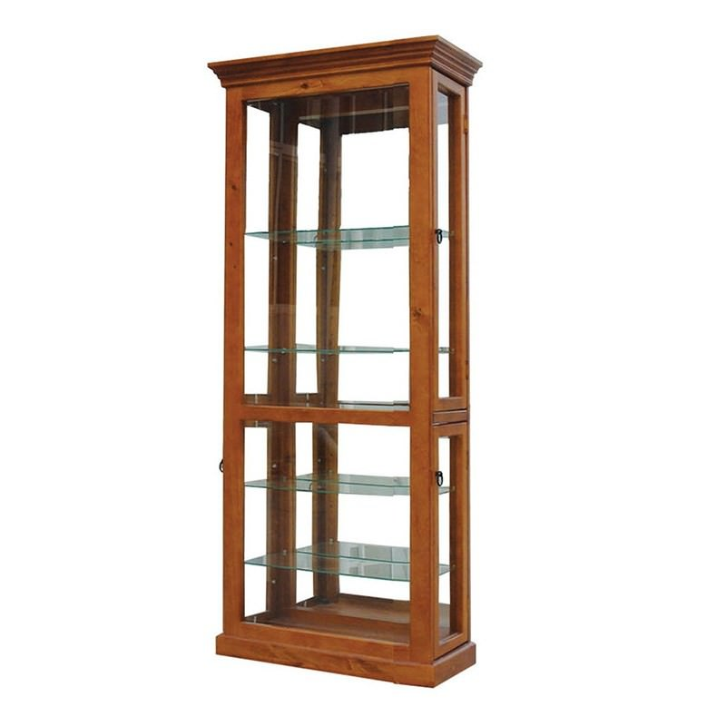 Mary New Zealand Pine Display Cabinet in Blackwood - 196x58cm
