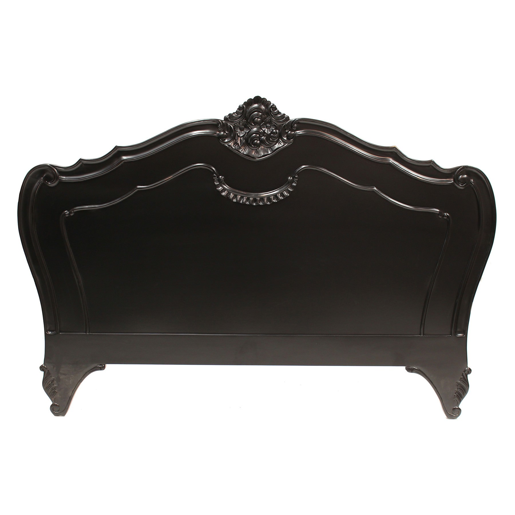 Challuy Hand Crafted Mahogany Queen Size Headboard, Black