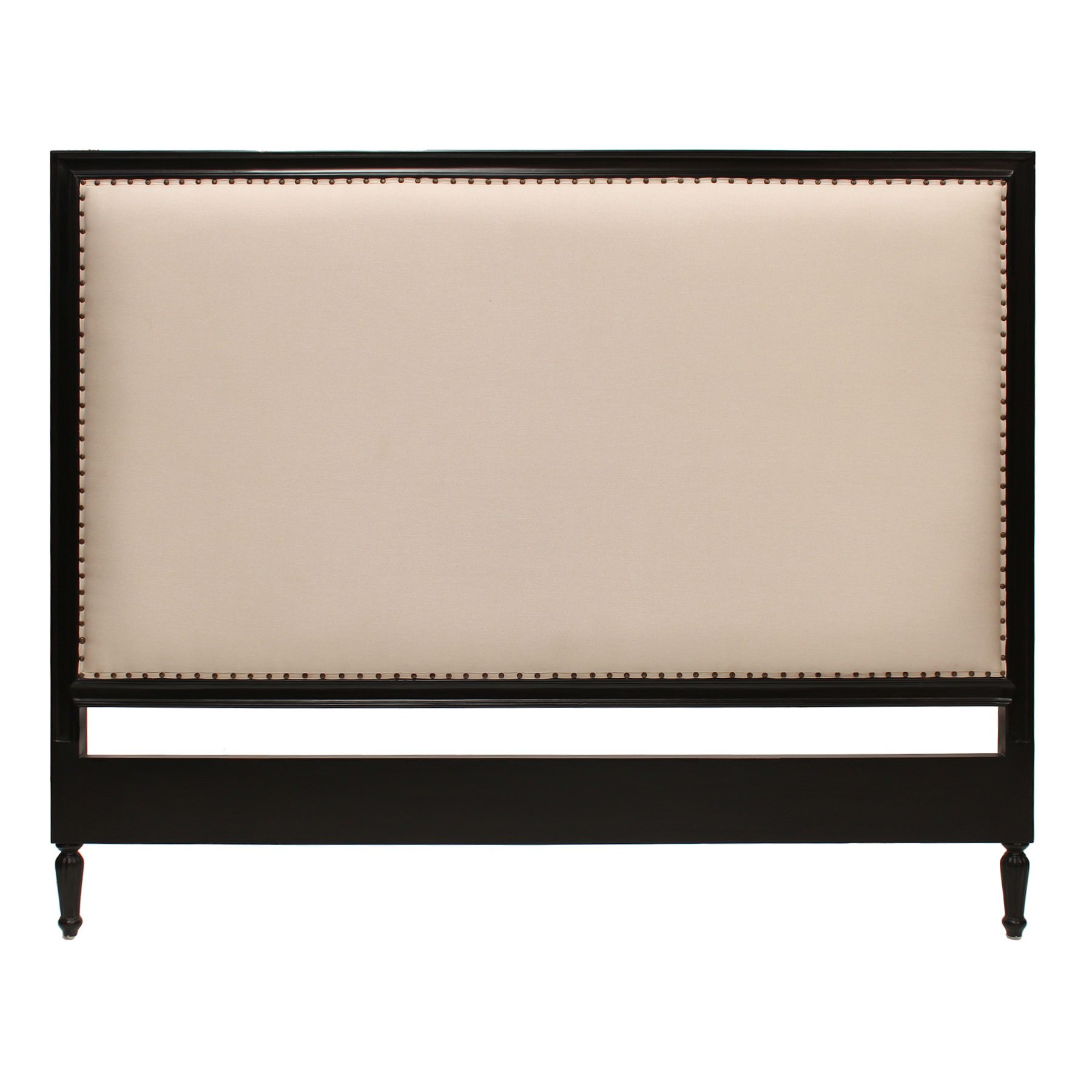 Ygrande Hand Crafted Mahogany Upholstered Queen Size Headboard, Black