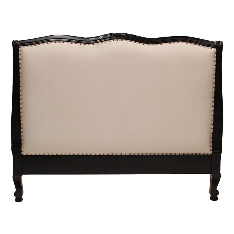 Souvigny Hand Crafted Mahogany Upholstered Queen Size Bedhead, Black